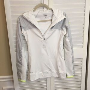 Nike Pro Pullover Women's White Grey Hooded Small